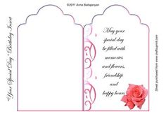Your Speical Day Birthday Insert on Craftsuprint designed by Anna Babajanyan - Lovely tag shaped insert for Birthday, Engagement, Anniversary etc occasion cards. I have designed it with my tag shaped base, my swirly decorative designs and my pink rose image. The text on the insert: May your special day be filled with memories and flowers, friendship and happy hours. - Now available for download!