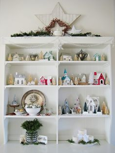 I will have an entire hutch full of glitter houses someday! Magical Christmas, Christmas Makes, All Things Christmas, Christmas Home, Handmade Christmas, Vintage Christmas, Christmas Holidays, Christmas Crafts, Christmas Decorations