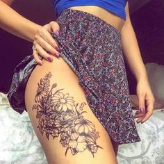 Thigh tattoo - I want the flowers for my 4 boys' birthdays like this... but maybe a little higher up, hip area down onto upper thigh.