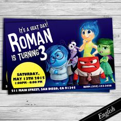 Inside Out Invitation -  Custom Printable Invite - Pixar - Picture by DsInvitations on Etsy