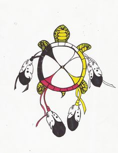 Turtle tattoo designs are usually just as diverse and meaningful. The turtle is often associated with various myths revolving around creation especially in India and North America. Below, we are going to mention some native American turtle tattoo designs. Native American Tattoos, Native Tattoos, Native American Pictures, Native American Symbols, Indian Tattoos, American Indians, Native American Medicine Wheel, Wheel Tattoo, Native American Spirituality