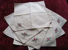 Six Vintage Hand Embroidered Napkins With Roses