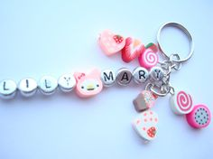 Name Key chain / Personalised Name Keyring / Bag by BaillieDay, Name Keyrings, Letter Beads, 1st Day Of School, Key Rings, Names, Charmed, Personalized Items, Key Chain, Crafts