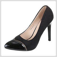 Damen Schuhe, XF65-03A, PUMPS, HIGH HEELS, Synthetik in hochwertiger Wildlederoptik und Lacklederoptik, Schwarz, Gr 40 - Damen pumps (*Partner-Link)