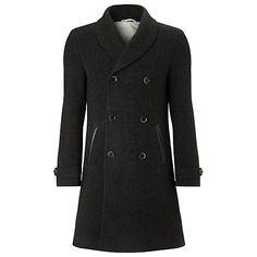 Double breasted wool overcoat, knee length in black