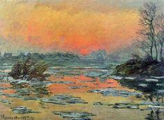 Coucher de soleil sur la Seine, l'hiver (C Monet - W 574),1880.