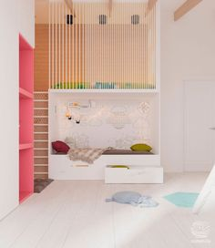 Nordic style bedroom were the bunk beds, with a functional and creative design where both aesthetics and safety play an important role Childrens Bedroom Furniture, Kids Furniture, Kids Bedroom, Bedroom Decor, Furniture Outlet, Bunk Beds For Girls Room, Kid Beds, Loft Spaces, Kid Spaces