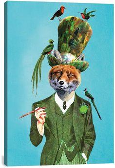 iCanvas Fox With Hat And Birds by Coco de Paris Canvas Print - 26 x 18