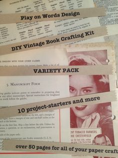 DIY Vintage Book Paper Crafting Kit - 10 project-starters and more - VARIETY PACK