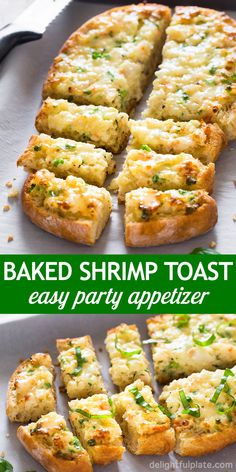 This baked shrimp toast is a quick, easy and tasty party appetizer. It features rich and creamy shrimp mixture on top of crusty bread. Give it a try if you need party food for a crowd. appetizers for a crowd Easy Baked Shrimp Toast Appetizers For A Crowd, Quick And Easy Appetizers, Finger Food Appetizers, Food For A Crowd, Best Appetizers, Seafood Appetizers, Seafood Party, Quick Party Food, Quick Snacks