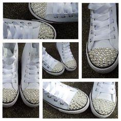 46b81ec54320 Crystal and Pearl Converse Style hi tops Diy Converse