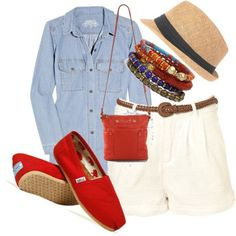 Toms Shoes OFF!>> roll the sleeves and different bracelets and a new bag haa but love the pop of color with the red toms! Red Toms Outfit, Toms Outfits, Casual Outfits, Fashion Outfits, Fashion Shoes, Summer Wear, Summer Outfits, Summer Ootd, Summer Chic