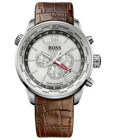Hugo Boss watch... leather band is great contrast to the dial.
