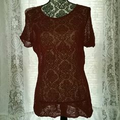 Blouse/Dress Maroon/burnt sienna colored faux crocheted top. I bought XL bc I wore black tank and black skinnies or black leggings with it. Perfect for end of summer/fall. I love this top! Worn twice. Excellent shape and condition. Smoke free home. Offers welcomed. Ann Taylor Tops Tunics