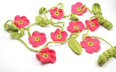 Spring Moss Green Leaf and Coral Pink Flower Cotton by Periay