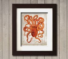 Vintage Poster of a Octopus on a photoesque by PaperKutMedia, $7.99