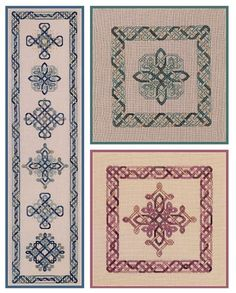 A collection of unique knotwork crosses with complementary borders. The designs are charted for overdyed and regular silks, but can easily be stitched using cotton fibers. Tips for choosing different colorways are included. Celtic Cross Stitch, Counted Cross Stitch Patterns, Blackwork, Celtic Quilt, Plastic Canvas Patterns, Beaded Embroidery, Needlework, Craft Art, Craft Ideas