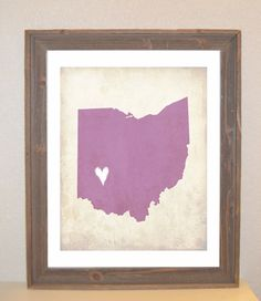 Ohio Love State Customizable Art Print [etsy]/one for Ohio, Florida, Nigeria and Michigan