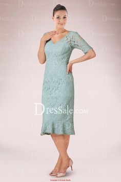 Fabulous Lace Knee-length Sheath Mother of Bride Gown Featuring Decent V-neckline