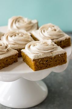 These Pumpkin Squares with Cinnamon Vanilla Buttercream frosting are moist, delicious and perfect for fall!