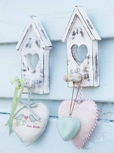 I would decoupage thesewooden bird boxes & hooks to add some color.