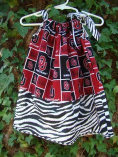 I am ordering this soon for ELLY!!! Oklahoma University - Sooners- PillowCase Dress. $22.50, via Etsy.