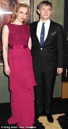 Partners: The lovely Andy Serkis, who plays Gollum, and his actress wife Lorraine Ashbourne and Freeman with his long-term partner (also an actress) Amanda Abbington