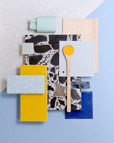 5 Weird Color Schemes You Should Try in Real Life mood board with pieces of yellow, blue, and mint green, plus black chunky terrazzo stone Living Room Color Schemes, Colour Schemes, Pantone Cards, Terrazzo, Mood Board Interior, Material Board, Website Design, Colour Board, Room Colors