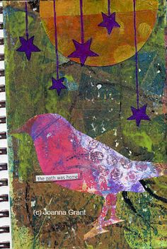 Art Journal Page with Gelli-printed papers for background, bird and  moon. Joanna Grant Mixed Media Art: Finished Art From Gelli Plate Printed Papers