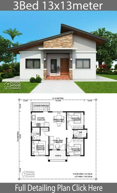 13 Bungalow House Design with Floor Plan Bungalow House Design With Floor Plan - Home design Plan with 3 bedrooms Small and affordable bungalow house plan with master on main Single St. Modern Bungalow House Design, Simple House Design, Bungalow Designs, Small Bungalow, Minimalist House Design, Bungalow Floor Plans, Affordable House Plans, Low Cost House Plans, Three Bedroom House Plan