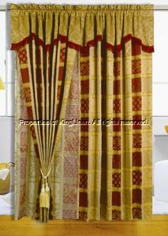 "Maroon Jewel Patchwork Curtain Set w/ Valance by KingLinen. $29.99. This is the matching curtain set for the Maroon Jewel Patchwork comforter set. FeaturesFabric: 65% Polyester/ 35% RayonColor: MultiMatching Comforter AvailableThis set includes:2 Curtain Panels(60""x84"" x2)2 Attached Valances (18"")2 Attached Sheer Backing2 Tieback Tassels"