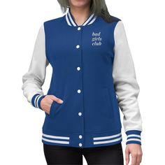 Bring back nostalgia with your personalized Womens Varsity Letterman Jacket! Coming in a variety of colors, this lightweight coat oz) helps you stay warm, cute and comfortable when running errands around town or attending the homecoming footb. Varsity Letterman Jackets, Grunge, Bad Girls Club, Embroidered Jacket, Sports Jacket, Navy And White, Jackets For Women, Women's Jackets, Plus Size