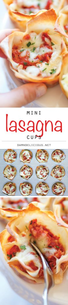 Lasagna Cups Mini Lasagna Cups - The easiest, simplest lasagna you will ever make, conveniently made into single-serving portions!Mini Lasagna Cups - The easiest, simplest lasagna you will ever make, conveniently made into single-serving portions! Mini Lasagna, Lasagna Cups, Lasagna Bites, Pizza Lasagna, Bread Pizza, Cheese Bread, I Love Food, Good Food, Yummy Food