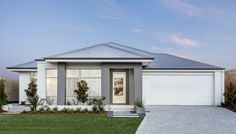 Striking modern elevation with contrast render, stylish windows and Colorbond roof