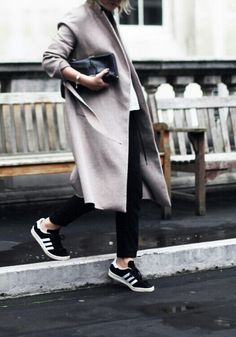 Black Adidas Sneakers . Grey Coat . Black Pants . Minimal Outfit .