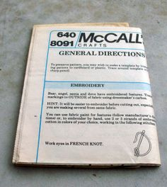 Never Used Vintage McCalls Pattern 8091 by lovelylovedesigns, $2.99