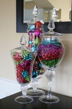 Colorful Christmas Apothecary Jars