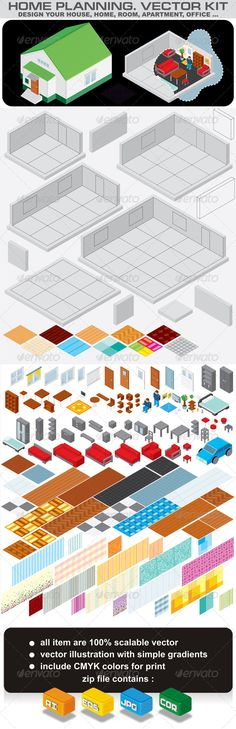 Home Planning. Isometric Vector Kit #GraphicRiver Home Planning Set. Isometric Vector Kit for Design and Decorate Your Home, Room, Apartment or Office Interior…