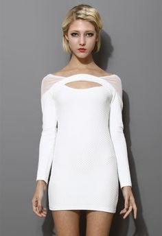 5ead5a872 White Mesh-Paneled Body-con Dress - Party - Dress - Retro, Indie and Unique  Fashion. Lydia Wilson