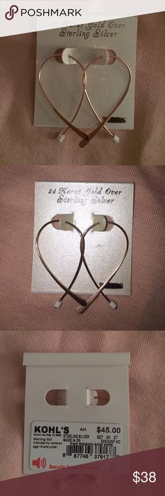 24k gold plated sterling silver wire earrings NWT!! 24k gold over sterling silver ribbon bow earrings. Never been worn. Jewelry Earrings