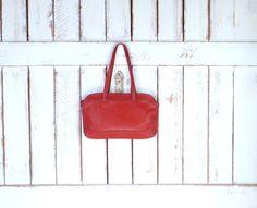 70s vintage rust orange/brown leather purse/rust brown leather handbag/ leather tote bag by GreenCanyonTradingCo on Etsy