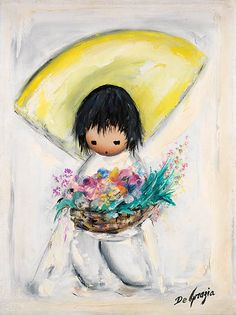 "These are a few of DeGrazia's most popular paintings. Hope you enjoy ""Flower Boy"" as much as everyone else does! #NationalHistoricDistrict #DeGrazia #Artist #Ettore #Ted #GalleryInTheSun #ArtGallery #Gallery #Adobe #Tucson #Arizona #AZ #Catalinas #Oil #Paintings #Flower #Boy #Basket"