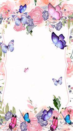Frame Border Design, Page Borders Design, Wedding Invitation Cards, Birthday Invitations, Butterfly Invitations, Flower Graphic Design, Butterfly Birthday, Beautiful Bugs, Wedding Frames