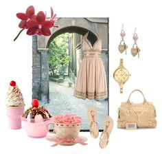 Candy candy by giubagnols on Polyvore featuring polyvore, fashion, style, Giuseppe Zanotti, Balenciaga, Christian Dior, Adrianna Papell, Dylan's Candy Bar, Lenox and clothing