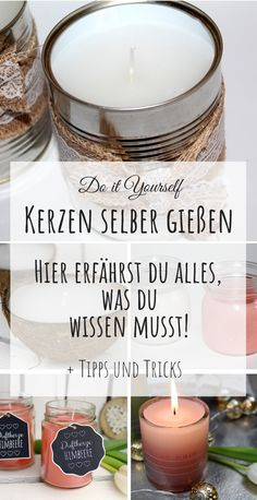 DIY Instructions: Make / make candles yourself + tips and tri .- DIY Anleitung: Kerzen selber gießen / machen + Tipps und Tricks, DIY instructions: pour / make candles yourself + tips and tricks, # instructions - Easy A, Love Gifts, Diy Gifts, Diy Luminaire, Baking Recipes For Kids, Baking Desserts, Diy And Crafts, Crafts For Kids, Vegetarian Meals For Kids
