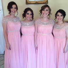 Light Pink Bridesmaid Gown,Beaded Prom Dresses,Chiffon Prom Gown,Simple Bridesmaid Dress,Beading Bridesmaid Dresses,Fall Wedding Gowns,Cap Sleeves Bridesmaid Dresses,Beautiful Bridesmaid Gown PD20184734