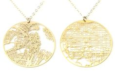 "Personalized Gold City Map Necklace - Personalized Gifts / Unique Gifts Jewelry necklaces - A detailed, delicate, cut-out street map of her favorite city—hometown, current home or desired destination—creates a necklace with modern elegance and personal meaning. Pendants are made from gold-plated stainless steel on an 18"" gold-filled chain. Many cities are also available in silver; see here. Ready to ship.  - gridgoldneck_mainimage.jpg"