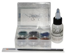Mineral Eyeliner Set. 6 colors. Amaretto, Charcoal, Chocolate, Kohl, Lapis and Teal. Kit also includes a 1oz. bottle of Mineral Eyeliner Sealant and an eyeliner brush.