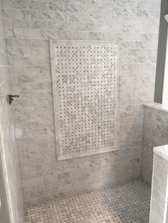 Bianco Carrara 3 X6 Wall Tiles With Basketweave Feature Area As Well Shower Floor