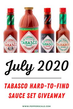 Our July 2020 giveaway features a few fun (and frankly sometimes tough to source) Tabasco sauces. The Tabasco Hard-to-Find Sauce Set features Tabasco's Sweet and Spicy, Sriracha, Scorpion, and Family Reserves sauces. Yum. #hotsaucegiveaway #tabasco #tabascohotsauce #giveaway #sriracha #tabascoscorpion Tabasco Hot Sauce, Stuffed Hot Peppers, Spicy Recipes, Hard To Find, Sweet And Spicy, Scorpion, Hot Sauce Bottles, Sauces, Giveaway